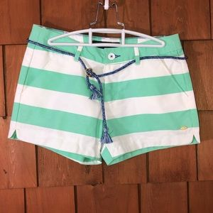 Tommy Hilfiger Girls Green/White Striped Shorts